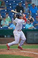 Reading Fightin Phils catcher Jorge Alfaro (11) singles during a game against the Portland Sea Dogs on May 31, 2016 at Hadlock Field in Portland, Maine.  Reading defeated Portland 6-4.  (Mike Janes/Four Seam Images)