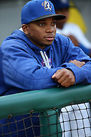 Yusniel Diaz (16) of the Rancho Cucamonga Quakes in the dugout before a game against the High Desert Mavericks at LoanMart Field on April 30, 2016 in Rancho Cucamonga, California. Rancho Cucamonga defeated High Desert, 7-6. (Larry Goren/Four Seam Images)