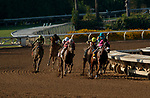 """ARCADIA, CA  SEP 26: #6 Get Her Number, ridden by Flavien Prat, leads the field into the stretch of the American Pharoah Stakes (Grade l) """"Win and You're In Breeders' Cup Juvenile Division"""" on September 26, 2020 at Santa Anita Park in Arcadia, CA. (Photo by Casey Phillips/Eclipse Sportswire/CSM."""