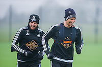Thursday  21 January 2016<br /> Pictured: L-R Daniel Alfei and Federico Fernandez<br /> Re: Swansea City Training Session at the Fairwood training ground