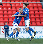 St Johnstone v Hamilton Accies…26.10.19   McDiarmid Park   SPFL<br />David Wotherspoon celebrates his goal with Stevie May<br />Picture by Graeme Hart.<br />Copyright Perthshire Picture Agency<br />Tel: 01738 623350  Mobile: 07990 594431