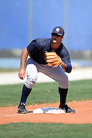 Third/First baseman Mike Ford (24) of the New York Yankees organization during practice before a minor league spring training game against the Toronto Blue Jays on March 16, 2014 at the Englebert Minor League Complex in Dunedin, Florida.  (Mike Janes/Four Seam Images)