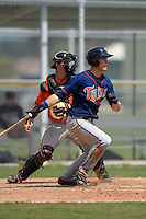 Minnesota Twins outfielder Max Kepler (27) at bat in front of catcher Tanner Murphy during a minor league spring training game against the Baltimore Orioles on March 20, 2014 at the Buck O'Neil Complex in Sarasota, Florida.  (Mike Janes/Four Seam Images)