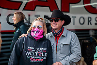Oct 4, 2020; Madison, Illinois, USA; NHRA top fuel driver Steve Torrence poses for photo with fan during the Midwest Nationals at World Wide Technology Raceway. Mandatory Credit: Mark J. Rebilas-USA TODAY Sports