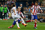 Atletico de Madrid's Griezmann and Koke (R) and Real Madrid´s Daniel Carvajal during quarterfinal first leg Champions League soccer match at Vicente Calderon stadium in Madrid, Spain. April 14, 2015. (ALTERPHOTOS/Victor Blanco)