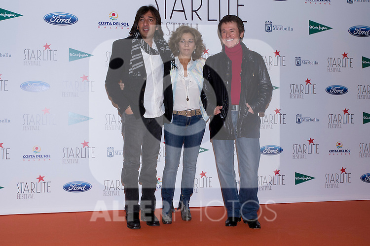 08.05.2012. Presentation of the Starlite Festival in the Casino de Madrid in the presence of some of the protagonists artists as Raphael, Lolita and Antonio Carmona, Paco Roncero for Bulli Catering, the Mayor of Marbella Ángeles Muñoz Uriol and producers of the project Sandra Garcia-Sanjuan and Ignacio Maluquer. The Starlite Festival will be held in Marbella from 13 July to 14 August. In the picture: Antonio Carmona, Lolita and Raphael  (Alterphotos/Marta Gonzalez)
