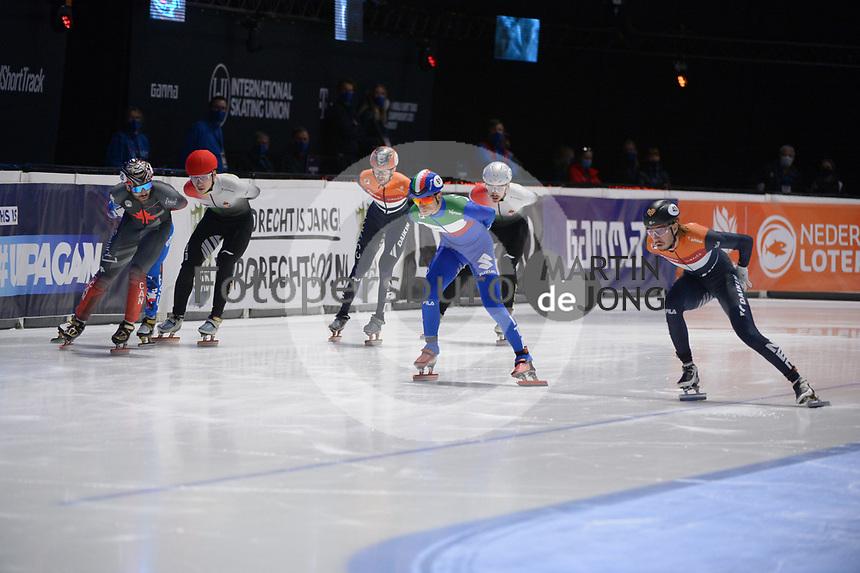 SPEEDSKATING: DORDRECHT: 07-03-2021, ISU World Short Track Speedskating Championships, 3000m Superfinal Men, Dylan Hoogerwerf (NED), Pietro Sighel (ITA), Charles Hamelin (CAN), Shaoang Liu (HUN), ©photo Martin de Jong