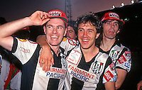 Adelaide City celebrating the 2-0 win over the Knights<br /> Grand Final - Adelaide City vs Melbourne Knights<br /> 1992 Coca Cola National Soccer League<br /> May 3rd 1992 / Olympic Park - Melbourne<br /> © Sport the library / Ian Kenins