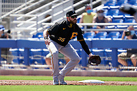 Pittsburgh Pirates first baseman Will Craig (35) during a Major League Spring Training game against the Toronto Blue Jays on March 1, 2021 at TD Ballpark in Dunedin, Florida.  (Mike Janes/Four Seam Images)