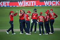 England's Freya Davies celebrates dismissing Amy Satterthwaite during the 2nd international women's T20 cricket match between the New Zealand White Ferns and England at Sky Stadium in Wellington, New Zealand on Friday, 5 March 2021. Photo: Dave Lintott / lintottphoto.co.nz