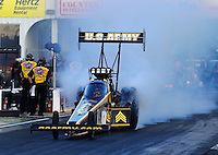 May 16, 2014; Commerce, GA, USA; NHRA top fuel dragster driver Tony Schumacher during qualifying for the Southern Nationals at Atlanta Dragway. Mandatory Credit: Mark J. Rebilas-USA TODAY Sports