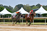 HOT SPRINGS, AR - APRIL 13:  Apple Blossom Handicap at Oaklawn Park on April 13, 2018 in Hot Springs,Arkansas.  #2 Unbridled Mo with jockey Ricardo Santana and #5 Unique Bella with jockey Mike E. Smith. (Photo by Ted McClenning/Eclipse Sportswire/Getty Images)