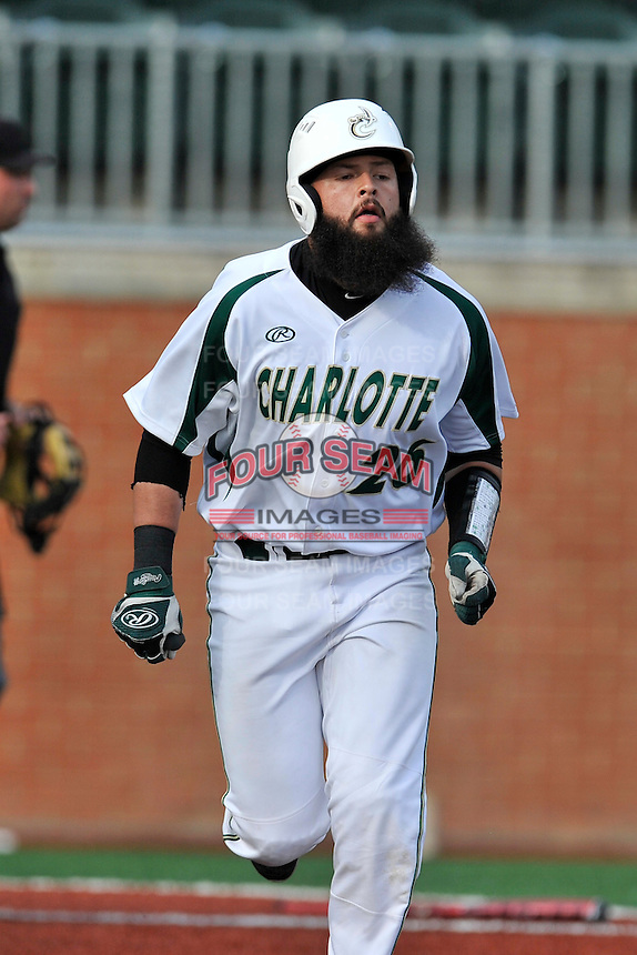 Catcher Derek Fritz (26) of the Charlotte 49ers runs toward first in a game against the Fairfield Stags on Saturday, March 12, 2016, at Hayes Stadium in Charlotte, North Carolina. (Tom Priddy/Four Seam Images)