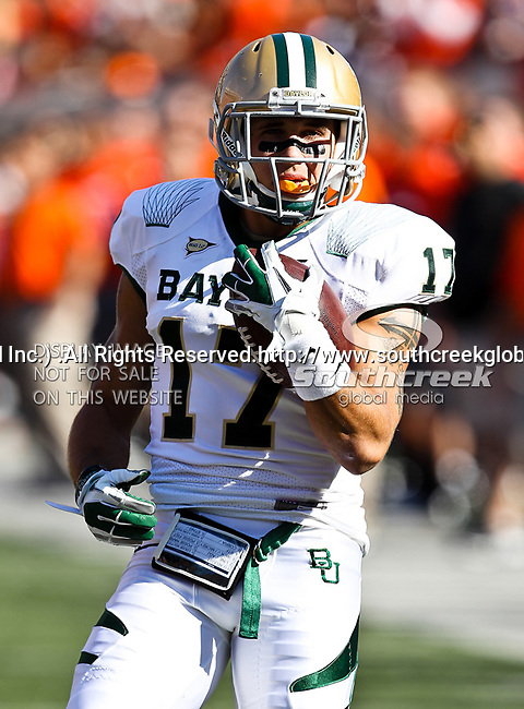 Baylor Bears safety Mike Hicks (17) in action during the game between the Baylor Bears and the Oklahoma State Cowboys at the Boone Pickens Stadium in Stillwater, OK. Oklahoma State defeats Baylor 59 to 24.