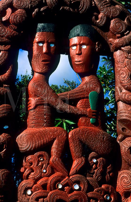 Native Maori art wood carvings at NZ Maori Arts and Crafts Institute near Rotorua, New Zealand