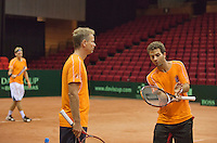 09-09-13,Netherlands, Groningen,  Martini Plaza, Tennis, DavisCup Netherlands-Austria, DavisCup,   Jean-Julien Rojer (NED)® captain Jan Siemerink and Thiemo de Bakker in background<br /> Photo: Henk Koster
