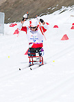 Sochi, RUSSIA - Mar 16 2014 - Yves Bourque competes in Cross Country Skiing Men's 10km Sitting at the 2014 Paralympic Winter Games in Sochi, Russia.  (Photo: Matthew Murnaghan/Canadian Paralympic Committee)