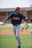 Cleveland Indians left fielder Oscar Gonzalez (39) during a Minor League Spring Training game against the Chicago White Sox at Camelback Ranch on March 16, 2018 in Glendale, Arizona. (Zachary Lucy/Four Seam Images)
