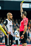 Referee Daniel Jesus Trujillo Suarez (R) issues a red card to Simone Zaza of Valencia CF (L) during the La Liga 2017-18 match between Valencia CF and Villarreal CF at Estadio de Mestalla on 23 December 2017 in Valencia, Spain. Photo by Maria Jose Segovia Carmona / Power Sport Images