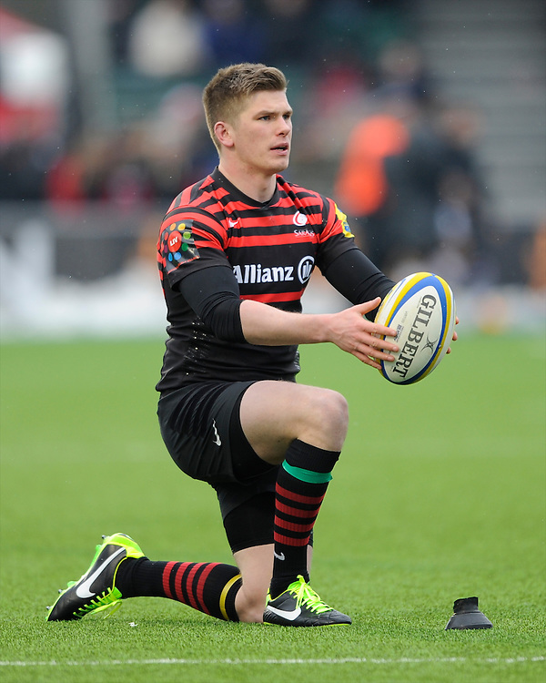 20130324 Copyright onEdition 2013©.Free for editorial use image, please credit: onEdition..Owen Farrell of Saracens lines up a kick during the Premiership Rugby match between Saracens and Harlequins at Allianz Park on Sunday 24th March 2013 (Photo by Rob Munro)..For press contacts contact: Sam Feasey at brandRapport on M: +44 (0)7717 757114 E: SFeasey@brand-rapport.com..If you require a higher resolution image or you have any other onEdition photographic enquiries, please contact onEdition on 0845 900 2 900 or email info@onEdition.com.This image is copyright onEdition 2013©..This image has been supplied by onEdition and must be credited onEdition. The author is asserting his full Moral rights in relation to the publication of this image. Rights for onward transmission of any image or file is not granted or implied. Changing or deleting Copyright information is illegal as specified in the Copyright, Design and Patents Act 1988. If you are in any way unsure of your right to publish this image please contact onEdition on 0845 900 2 900 or email info@onEdition.com
