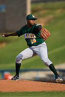Relief pitcher Moises Robles #19 of the Lynchburg Hillcats in action versus the Winston-Salem Dash at Wake Forest Baseball Stadium August 30, 2009 in Winston-Salem, North Carolina. (Photo by Brian Westerholt / Four Seam Images)