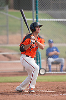 San Francisco Giants first baseman Gio Brusa (23) follows through on a home run swing during an Instructional League game against the Kansas City Royals at the Giants Training Complex on October 17, 2017 in Scottsdale, Arizona. (Zachary Lucy/Four Seam Images)