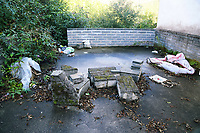 Debris by the terraced houses in Cyfyng Road, which have been either abandoned or evacuated over fears of a landslide in the area in Ystalyfera, Wales, UK. Wednesday 30 August 2017