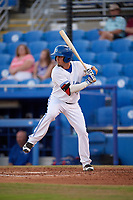Dunedin Blue Jays shortstop J.C. Cardenas (2) at bat during a game against the St. Lucie Mets on April 19, 2017 at Florida Auto Exchange Stadium in Dunedin, Florida.  Dunedin defeated St. Lucie 9-1.  (Mike Janes/Four Seam Images)