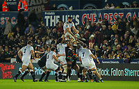 8th October 2021;  Swansea.com Stadium, Swansea, Wales; United Rugby Championship, Ospreys versus Sharks; Ruben van Heerden of Cell C Sharks wins the lineout ball