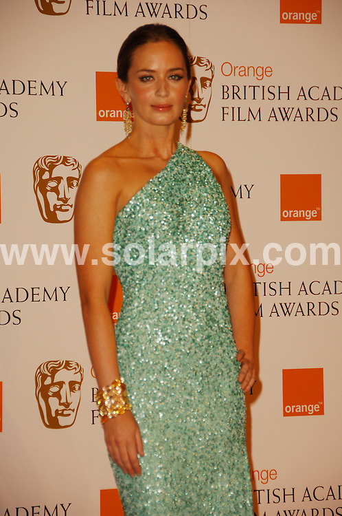 **ALL ROUND PICTURES FROM SOLARPIX.COM**.**WORLDWIDE SYNDICATION RIGHTS**.The Orange British Academy Film Awards.Royal Opera House, London, February 10th 2008   ..This pic: Emily Blunt..JOB REF: 5750 MSR    DATE: 08_02_2008.**MUST CREDIT SOLARPIX.COM OR DOUBLE FEE WILL BE CHARGED* *UNDER NO CIRCUMSTANCES IS THIS IMAGE TO BE REPRODUCED FOR ANY ONLINE EDITION WITHOUT PRIOR PERMISSION*