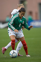 Leticia Villapando holds the ball. USA women's national team defeated Mexico 5-0 at Gillette Stadium in Foxborough MA on April 14, 2007