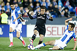 CD Leganes' Diego Rico (l) and Martin Mantovani (r) and Real Madrid's Mariano Diaz during La Liga match. April 5,2017. (ALTERPHOTOS/Acero)