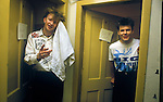Bruce Watson Stuart Adamson  Big Country on tour Scotland.Back stage after a concert. 1980s.