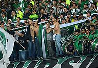 MEDELLÍN - COLOMBIA - 18-03-2017: Hinchas de Atletico Nacional, animan a su equipo, durante partido de la fecha 10 entre Atletico Nacional y Deportivo Independiente Medellin, por la fecha 10 por la Liga Águila I 2017, jugado en el estadio Atanasio Girardot de la ciudad de Medellín. / Fans of Atletico Nacional, cheer for their team, during a match of the date 10 between Atletico Nacional and Deportivo Independiente Medellin for the Aguila League I 2017, played at Atanasio Girardot stadium in Medellin city. Photo: VizzorImage / León Monsalve / Cont.