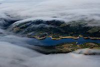 aerial photograph fog Crystal Springs Reservoir, San Mateo County