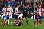 Atletico de Madrid's Arda Turan, Gabi, Griezmann, Mandzukic and Koke during quarterfinal first leg Champions League soccer match at Vicente Calderon stadium in Madrid, Spain. April 14, 2015. (ALTERPHOTOS/Victor Blanco)