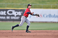 Mississippi Braves shortstop Dansby Swanson (5) on the field during a game against the Tennessee Smokies at Smokies Stadium on May 7, 2016 in Kodak, Tennessee. The Smokies defeated the Braves 5-3. (Tony Farlow/Four Seam Images)