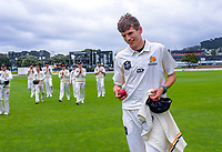 Wellington's Ben Sears is clapped off after his 6-wicket haul during day two of the Plunket Shield cricket match between the Wellington Firebirds and Auckland at Basin Reserve in Wellington, New Zealand on Saturday, 9 November 2019. Photo: Dave Lintott / lintottphoto.co.nz