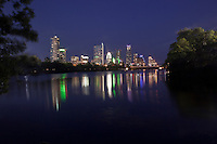 Austin, Texas Skyline Panoramic with colorful reflection on Town Lake Austin