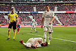 Real Madrid's Dani Carvajal (L) and Lucas Vazquez (R) during La Liga match between Atletico de Madrid and Real Madrid at Wanda Metropolitano Stadium in Madrid, Spain. February 09, 2019. (ALTERPHOTOS/A. Perez Meca)