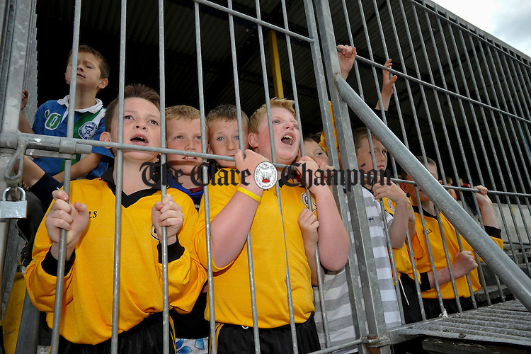 The Clonlara subs cheer on their team during their U-12 Division 3 championship final in Cusack Park. Photograph by John Kelly.
