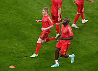 Belgian midfielder Kevin De Bruyne (7) and Belgian forward Romelu Lukaku (9) pictured during warming up of a soccer game during the quarter final Euro 2020 European Championship between the Belgian national soccer team Red Devils and Italy , called the Azzurri , on friday 2 nd of July 2021  in the Allianz Arena in Munchen , Germany . PHOTO SPORTPIX   SPP   DAVID CATRY