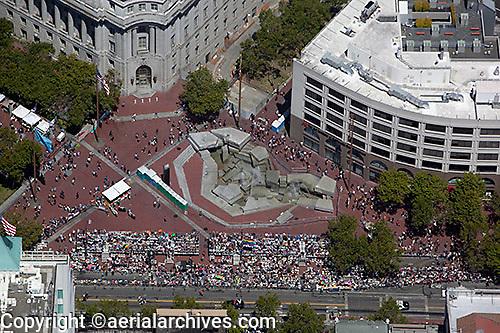 aerial photograph of the UN Plaza during the San Francisco Pride Festival, San Francisco, California