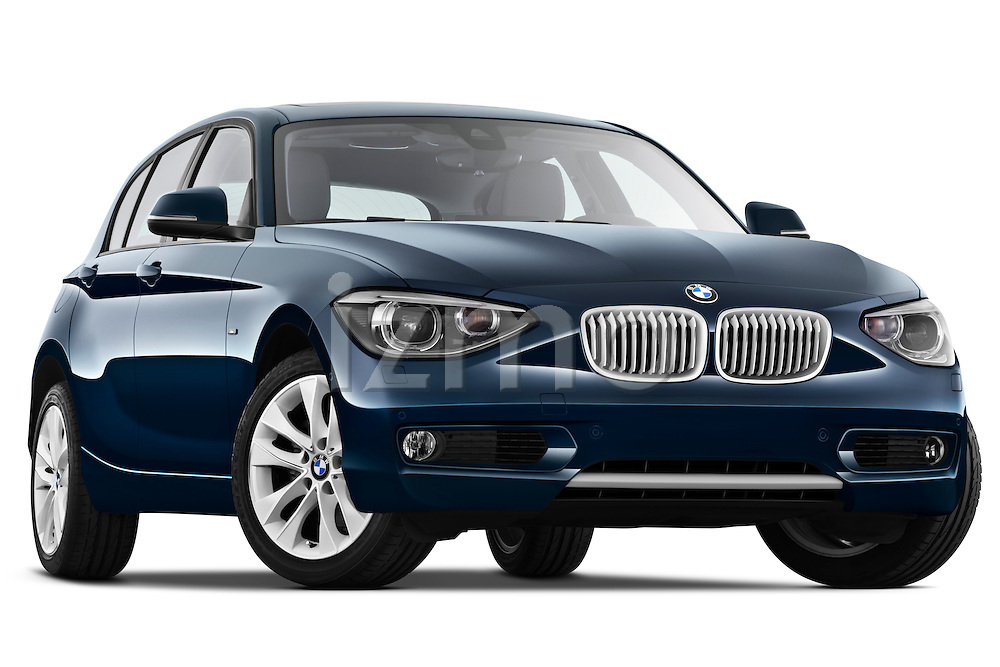 Low aggressive passenger side front three quarter view of a 2011 - 2014 BMW 118d 5 Door hatchback.