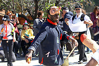 Pictured: A man wears a penis-shaped mask during the Bourani celebrations in Tirnavos, central Greece. Monday 11 March 2019<br /> Re: Bourani (or Burani) the infamous annual carnival which dates to 1898 which takes place on the day of (Clean Monday), the first days of Lent in Tirnavos, central Greece, in which men hold phallus shaped objects as scepters in their hands.