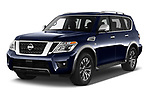 2019 Nissan Armada SL 5 Door SUV angular front stock photos of front three quarter view