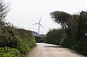Cornwall, England. Wind turbine at the end of the road.