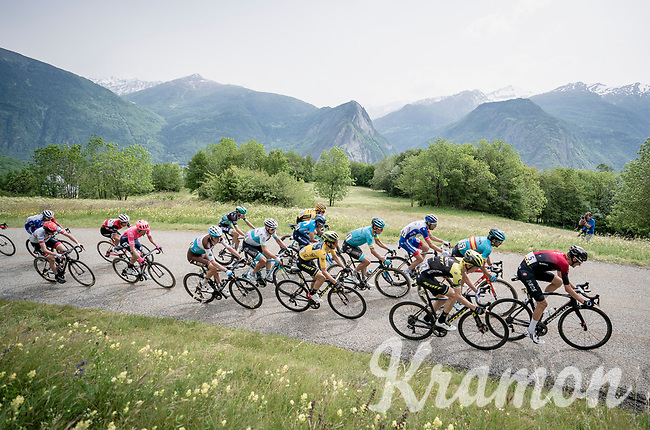 6 minutes after the (winning) breakaway, the group with GC favorites, including yellow jersey / GC leader Adam Yates (GBR/Mitchelton-Scott), reach the top of the final climb of the day: the Col de Baune<br /> <br /> Stage 6: Saint-Vulbas to Saint-Michel-de-Maurienne (228km)<br /> 71st Critérium du Dauphiné 2019 (2.UWT)<br /> <br /> ©kramon