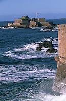 Europe/France/Bretagne/35/Ille-et-Vilaine/Saint-Malo: Depuis les remparts de la Ville Close vue sur le Fort National