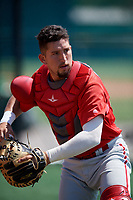 Philadelphia Phillies Carlos Oropeza (11) before a Minor League Extended Spring Training game against the Pittsburgh Pirates on May 3, 2018 at Pirate City in Bradenton, Florida.  (Mike Janes/Four Seam Images)